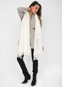 Twill Handwoven Merino Shawl and Oversize Scarf with Stripes 100 X 200cm Cream