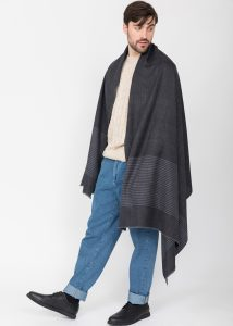 Twill Merino Handwoven Oversize Scarf Charcoal with Stripes Charcoal