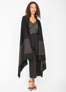 Twill Merino Handwoven Pashmina & Blanket Scarf with Stripes Black