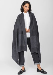 Twill Merino Handwoven Pashmina & Blanket Scarf with Stripes Charcoal