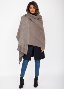 Twill Merino Handwoven Pashmina & Blanket Scarf with Stripes Mushroom Melange