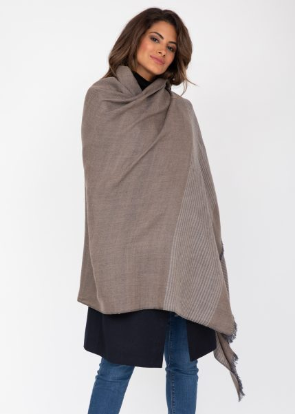 Twill Merino Handwoven Pashmina & Blanket Scarf with Stripes Mushroom Melange