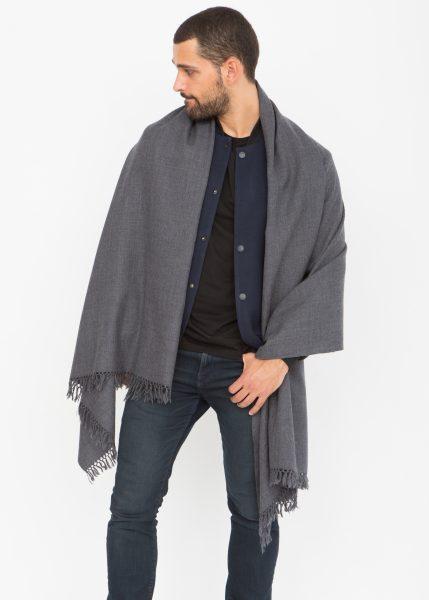 Twill Weave Merino Handwoven Oversize Scarf 100 X 200cm Charcoal