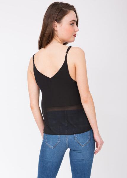 V-Neck Sheer Georgette Camisole Black