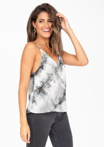 V-Neck Sheer Georgette Camisole Grey Marble Print
