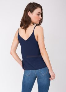 V-Neck Sheer Georgette Camisole Navy