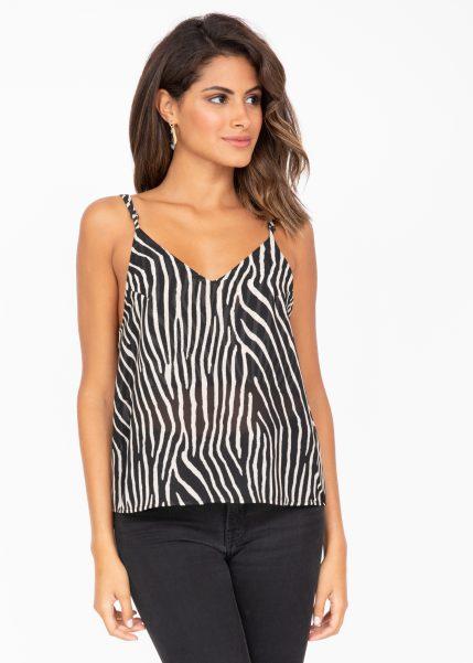 V-Neck Sheer Georgette Camisole Zebra Stripes Print