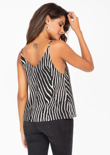 V-Neck Sheer Georgette Camisole Zebra Stripes Print