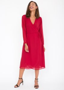 Valencia Double Layer Midi Wrap Dress