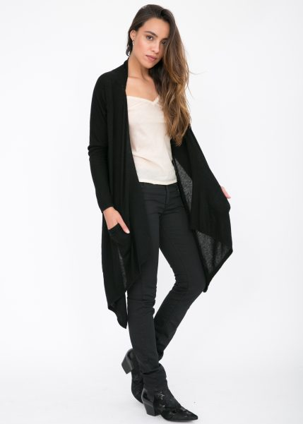 Waterfall Pocket Cardigan Black