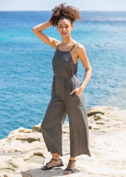 Wide Leg Adjustable Back Jumpsuit Grey