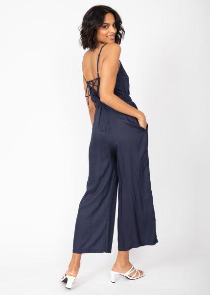 Wide Leg Adjustable Back Jumpsuit Navy