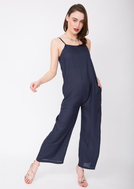 Wide Leg Adjustable Back Jumpsuit Navy