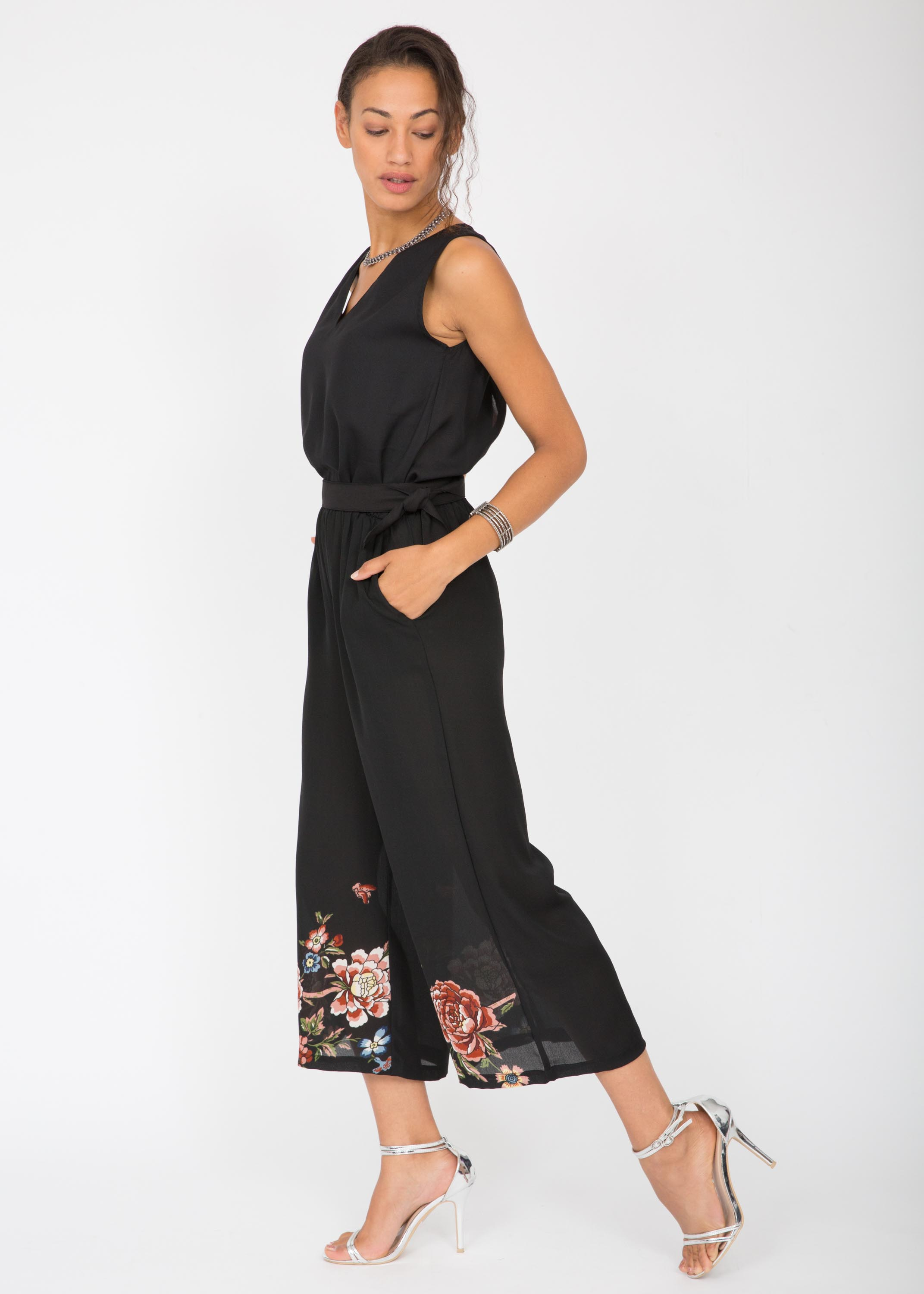 3b7d14bf8b58 Wide Leg Culotte Jumpsuit Black with Floral – likemary