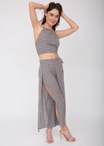 Wide Leg Side Split Trousers Fleurs Print