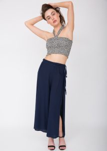 Wide Leg Side Split Trousers Navy
