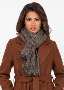 Womens Merino Wool Scarf Handwoven in Houndstooth Plaid Mocha Brown