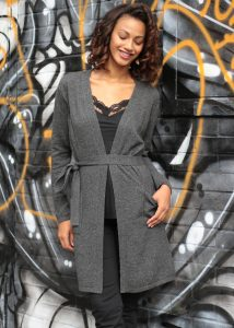 Wool Rich Long Knit Cardigan Charcoal