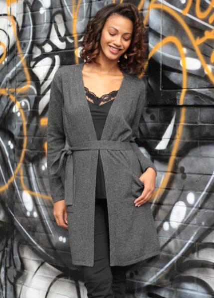Wool Rich Long Knit Cardigan Charcoal