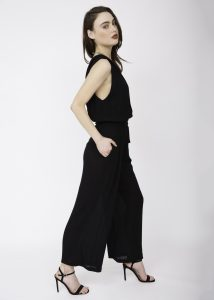 Wrap Front Soft Crinkle Jumpsuit Black