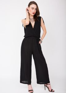 Wrap Front Soft Crinkle Jumpsuit Black